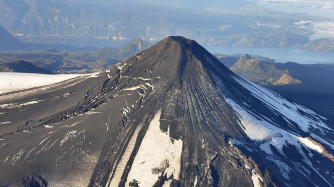 An aerial view of the Villarrica volcano is seen south of Santiago