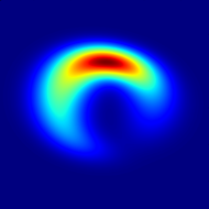 This crescent-shape image is the best fit to observations of Sgr A*, the supermassive black hole at the center of our galaxy, according to a January 2013 study.