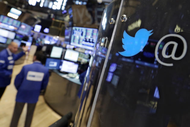 The logo for Twitter adorns a phone post on the floor of the New York Stock Exchange, Tuesday, July 28, 2015. Twitter surprised investors with a strong earnings report Tuesday even as the company sear
