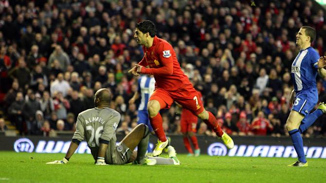 Luis Suarez was amongst the goals once again as Liverpool beat Wigan