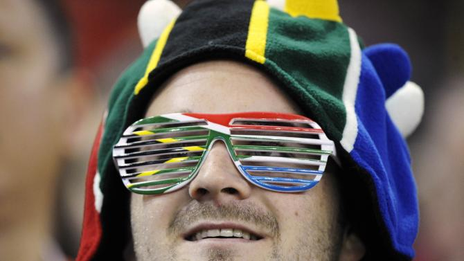 A South African rugby supporter looks on during the international rugby union match between South Africa and Wales at the Millennium Stadium in Cardiff