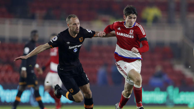 Hull City's David Meyler in action with Middlesbrough's Marten de Roon