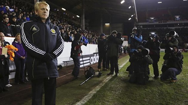 Scotland's head coach Gordon Strachan stands on the field before their international friendly match against Estonia at Pittodrie Stadium in Aberdeen (Reuters)