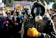 Albanians protest in Tirana, on November 7, 2013, against the prospect of using the country as a site for destroying Syria's chemical weapons