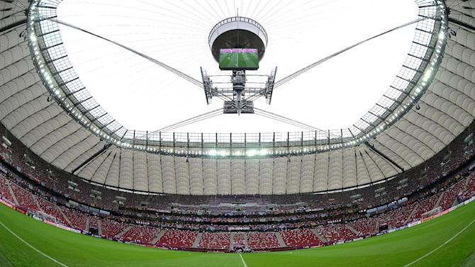 Trouble erupted before the game between Poland and Russia, held at the National Stadium (pictured)