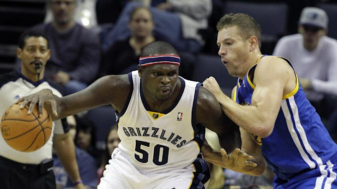 Memphis Grizzlies' Zach Randolph (50) dribbles the ball in front of Golden State Warriors' David Lee in the first half of an NBA basketball game in Memphis, Tenn., Saturday, Nov. 9, 2013
