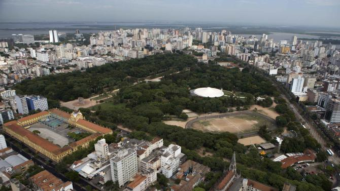 Aerial view shows the Farroupilh park in Porto Alegre