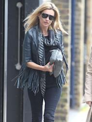 Continuing her run of fashion hits, our old favourite Kate Moss showcases one of the coolest micro-trends of the season with her Fringed Leather Jacket