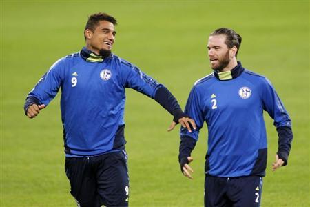 Schalke 04's Boateng and Hoogland attend a training session in Bucharest
