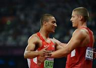 USA's gold medalist Ashton Eaton (L) and silver medalist Trey Hardee (R) celebrate after the London Olympics men's decathlon. Usain Bolt has admitted that despite streaking to a unique second successive Olympic sprint double, Eaton is the best athlete in the world