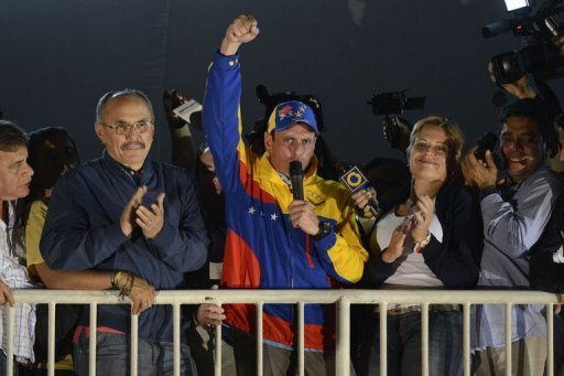 "Miranda state governor Henriques Capriles Radonski waves to supporters after wining the re-election in Caracas on December 26, 2012. President Hugo Chavez's top rival survived a tough test Sunday, winning re-election as governor, but he allowed that losses in other state-level races were a ""tough moment"" for Venezuela's opposition."