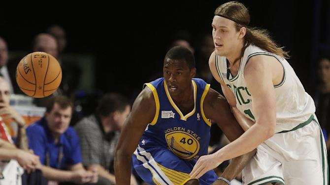 Team Webber's Kelly Olynyk of the Boston Celtics, right,  and Team Hill's Harrison Barnes of the Golden State Warriors vie for a loose ball during the Rising Star NBA All Star Challenge Basketball game, Friday, Feb. 14, 2014, in New Orleans