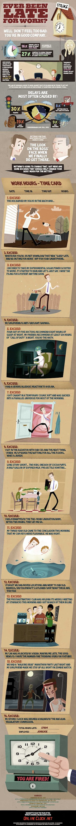 How to Get Away With Being Late For Work image late for work infographic