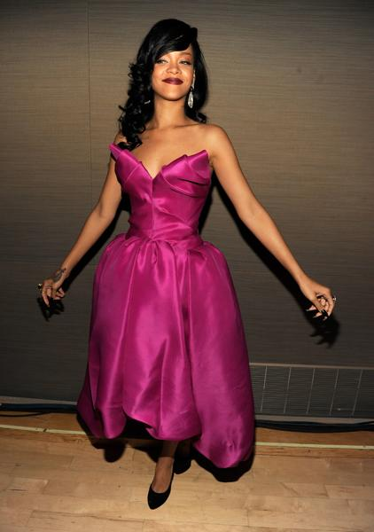 Rihanna did serious justice to her fuschia Marchesa dress at the TIME 100 Most Influential People Gala. Sugar and spice is a great sartorial combination every time. (Kevin Mazur/Getty)