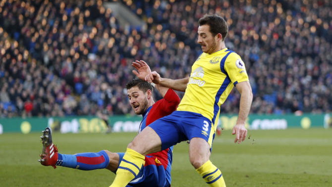 Everton's Leighton Baines in action with Crystal Palace's Joel Ward