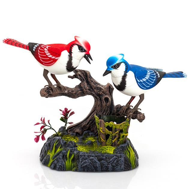 Love Birds - £9.95 from www.red5.co.uk You can't help but adore these Love Birds. Perched on their favourite branch, this pair of tweeters react to passers-by with a chirp as they spring to life and t