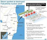 Graphic showing Japan's stricken Fukushima nuclear power plant where steam was seen rising from the destroyed Reactor 3 building, according to operator TEPCO. TEPCO insisted Thursday there was no sign of spiking radiation at the crippled facility, after steam was found in a reactor building