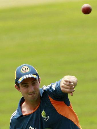Australia's Shaun Marsh throws a ball during a practice session in Colombo