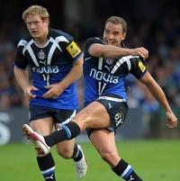 Former Bath star Olly Barkley, right, helped Racing Metro to victory with his kicking accuracy