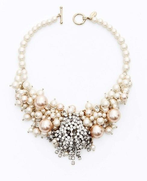 Large Pearlized Bead and Crystal Statement Necklace, $125