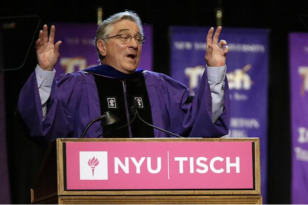 Actor Robert De Niro addresses the class of 2015, faculty, and guests during  New York University's Tisch School of the Arts commencement  ceremony,  Friday, May 22, 2015, in New York. De Niro, wh