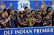 Kolkata Knight Riders celebrate after winning the DLF IPL Twenty20 Champions Trophy during the IPL Twenty20 final match against Chennai Super Kings (CSK) at the M.A. Chidambaram Stadium in Chennai
