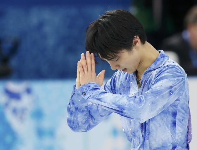 Yuzuru Hanyu after his figure skating team men's short program at the Sochi 2014 Winter Olympics