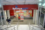 The entrance of the Reliance Mart on Gandhinagar-Sarkhej Highway road in Ahmedabad on January 18, 2013. India's largest private firm Reliance Industries reported on Friday a surprise 24 percent rise in quarterly net profit as higher refining margins offset slowing output from offshore fields