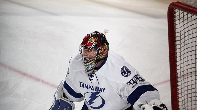 Sebastien Caron #35 Of The Tampa Bay Lightning Tends Getty Images