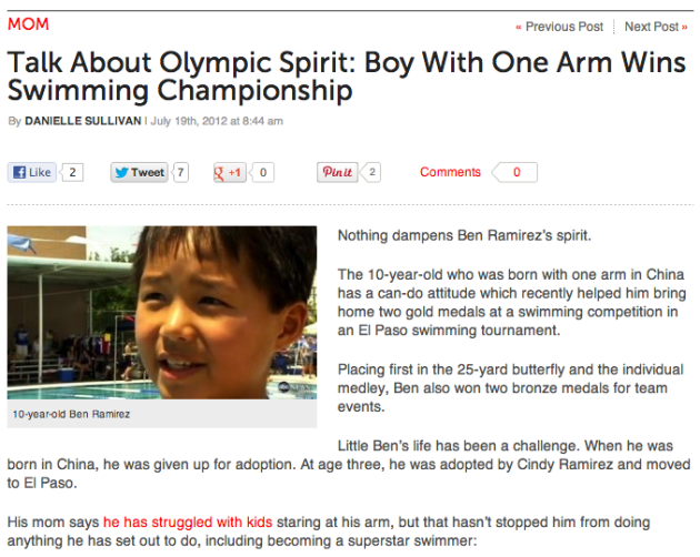 Boy With One Arm Becomes Champion Swimmer