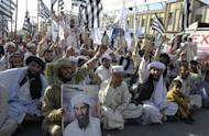 Bin Laden supporters shout anti-US slogans during a protest in Quetta, northwest Pakistan the day after the Al-Qaeda chief is killed in a raid byUS Special Forces