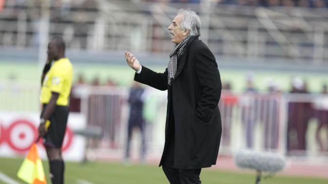 Algeria's coach Halilhodzic gestures during their international friendly soccer match against Slovenia in Algiers