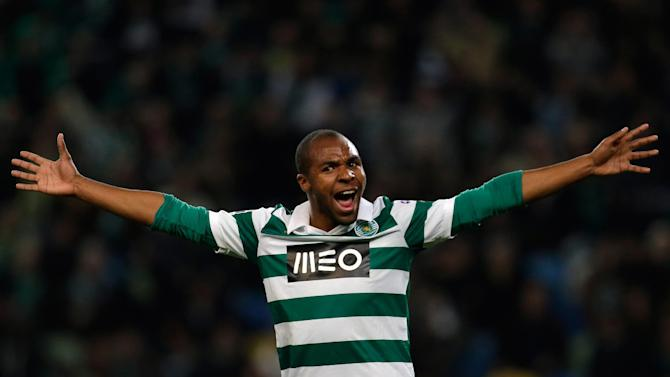 Sporting's Wilson celebrates after scoring their third goal during the Portuguese league soccer match against Belenenses,  Saturday, Dec. 14 2013, at Sporting's Alvalade stadium in Lisbon
