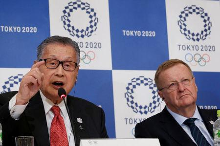 IOC Vice President John Coates and Yoshiro Mori, head of the 2020 Tokyo Olympics organising committee attend at a news conference in Tokyo