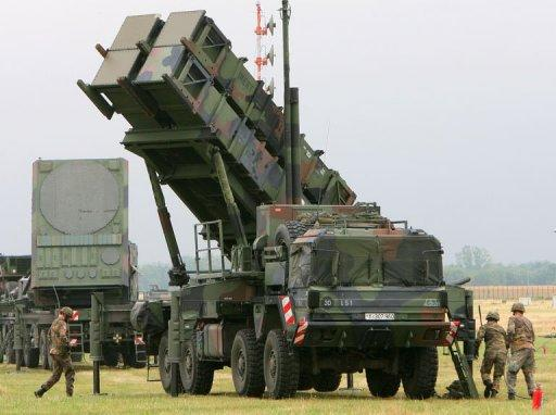 """Air Defence Missile Squadron 2 with a Patriot missile launcher during an exercise at training site Warbelow near Gnoien, northern Germany, in 2008. NATO chief Anders Fogh Rasmussen on Wednesday said the alliance would consider """"without delay"""" a request from member Turkey for a deployment of surface-to-air Patriot missiles to protect its troubled border with Syria"""
