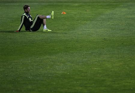 Spain national player Ramos takes part in a soccer training session at Soccer City in Las Rozas, near Madrid