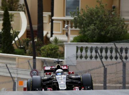 Lotus Formula One driver Grosjean of France drives his car during the first free practices for the Monaco F1 Grand Prix
