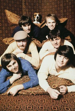 The Beach Boys in 1967: A beagle, with Top: Dennis Wilson, Al Jardine, Middle: Mike Love, Bruce Johnston, Bottom: Carl Wilson, Brian Wilson  -- Getty Premium