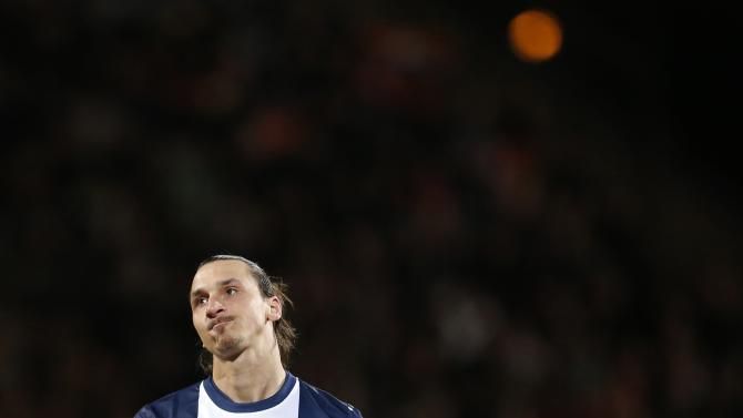 Paris St Germain's Ibrahimovic reacts during his French Ligue 1 soccer match against Lorient at the Moustoir stadium in Lorient