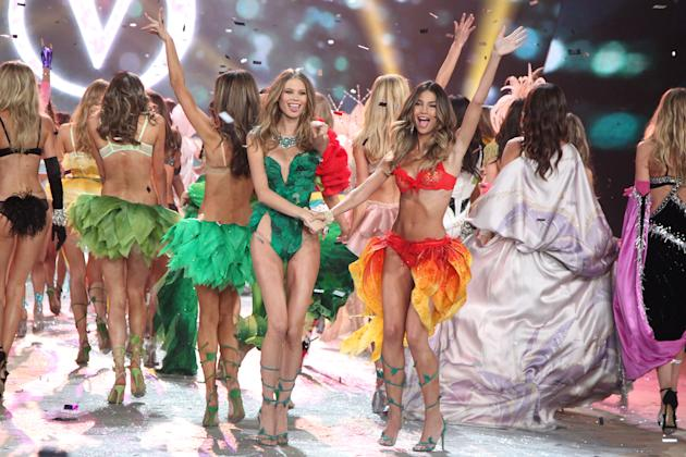 This Nov. 7, 2012 photo released by Starpix shows models Behati Prinsloo, left, and Lily Aldridge during The 2012 Victoria's Secret Fashion Show in New York. The California native has been a Victo