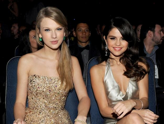 Taylor Swift and Selena Gomez at the 2011 American Music Awards held at Nokia Theatre L.A. LIVE on November 20, 2011 -- Getty Premium