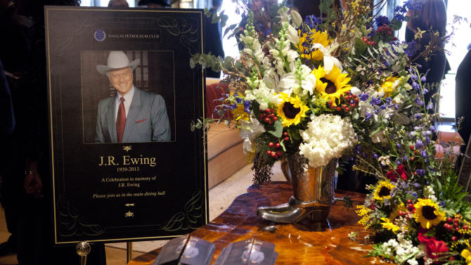 """This image released by TNT shows a funeral scene for the character J.R. Ewing, played by Larry Hagman, in an episode of """"Dallas,"""" airing Monday at 9 p.m. EST on TNT. Hagman died of cancer at 81 the day after Thanksgiving.  (AP Photo/TNT, Skip Bolen)"""