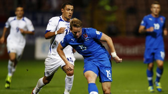 Bosnia's Salihovic fights for the ball with Slovakia's Hubocan during their 2014 World Cup qualifying soccer match in Zenica