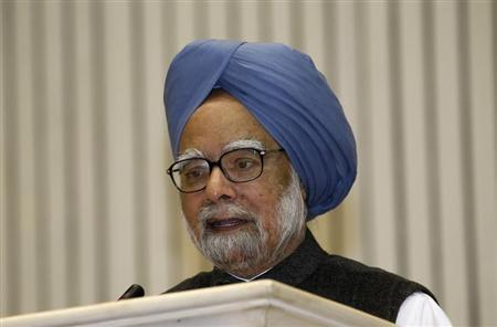 India's PM Singh speaks during the meeting of the 57th NDC in New Delhi