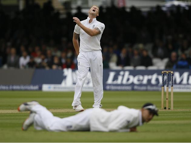 England's Ben Stokes shouts after bowling as a chance is missed during the third day of the first Test match between England and New Zealand at Lord's cricket ground in London, Saturday, May 2