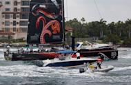 The Puma Ocean Racing boat with an American crew is seen as it arrives after completing leg six of the Volvo Ocean race in Miami, Florida. American Ken Read steered his Puma boat into Miami for an emotional home victory on Wednesday to keep his dream alive of winning the Volvo Ocean Race at the age of 50 at his last attempt