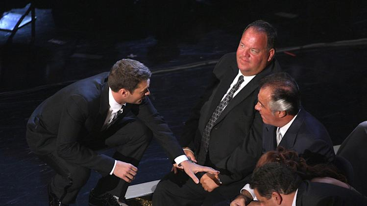 Ryan Seacrest and Tony Sirico during the 59th Annual Primetime Emmy Awards at the Shrine Auditorium on September 16, 2007 in Los Angeles, California.