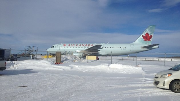 This Air Canada plane was diverted from Winnipeg to Brandon on Wednesday after bad weather made it unsafe to land.