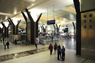 File photo of the check-in counters at O.R. Tambo international airport in Johannesburg, South Africa, where a British Airways airplane carrying 202 people struck an office building with its wing while taxiing for take-off Sunday, injuring four