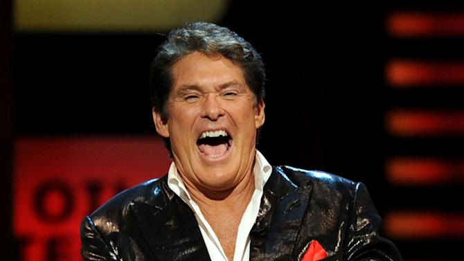"""Actor David Hasselhoff laughs onstage at the """"Comedy Central Roast Of David Hasselhoff"""" held at Sony Pictures Studios on August 1, 2010 in Culver City, California."""